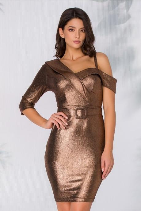 Rochie Kira bronz metalizat cu curea