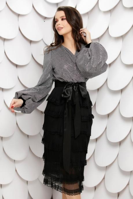 Rochie Latiffa Neagra Cu Argintiu Din Dantela Si Paiete