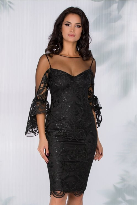 Rochie MBG neagra din tull si broderie florala