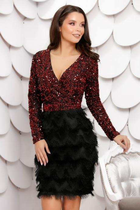 Rochie Maribela Black Red