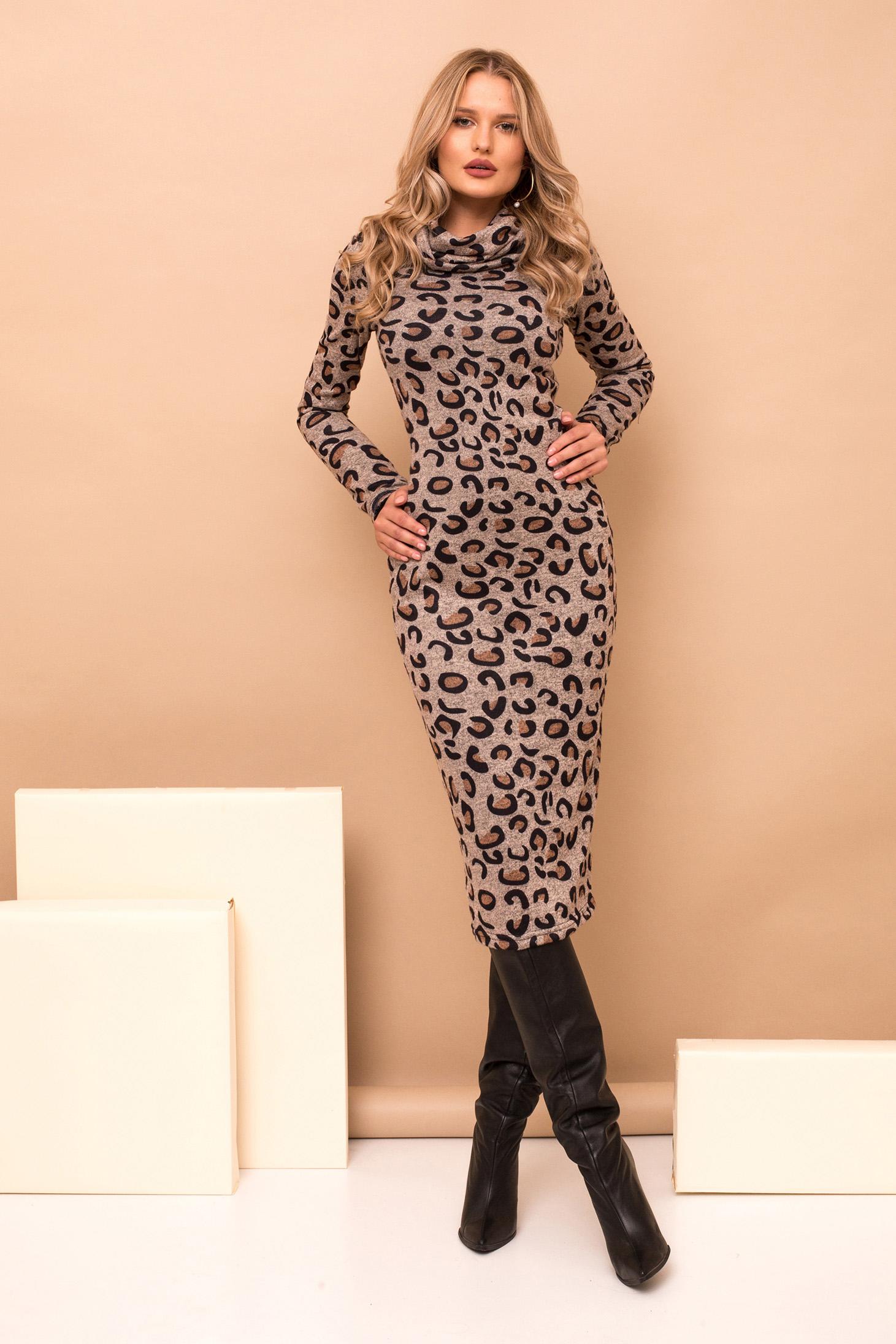 Rochie PrettyGirl gri midi tip creion eleganta din material tricotat cu maneci lungi cu imprimeu animal print si guler inalt
