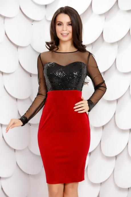 Rochie Rhea Black Red