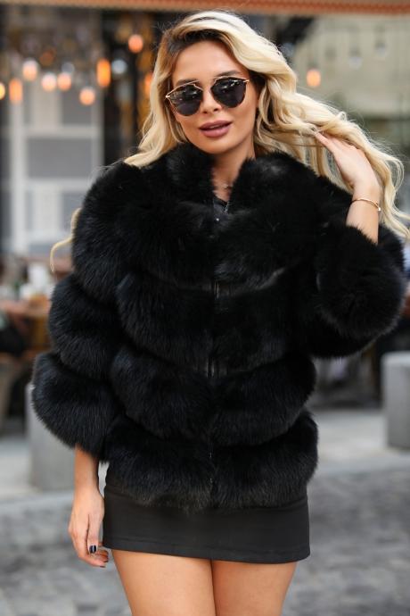 Haina blana naturala dama din vulpe polara cu inchidere fermoar neagra Corinne