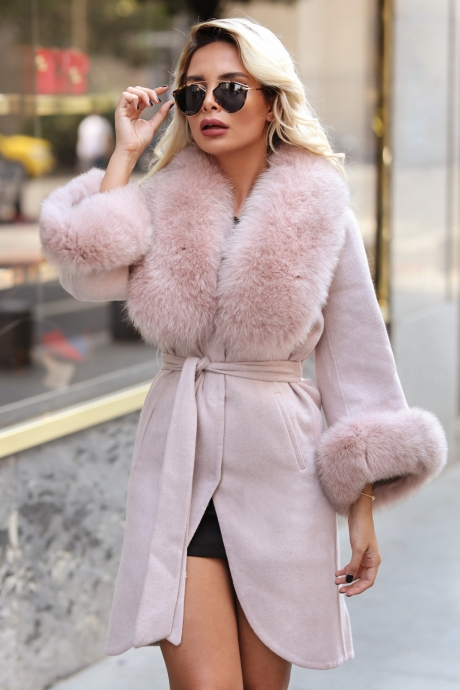 Palton dama roz prafuit din lana de alpaca cu guler din blana naturala de vulpe cu par lung Natasha