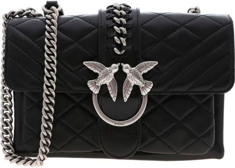 Pinko Mini Love Soft Shoulder Bag In Black