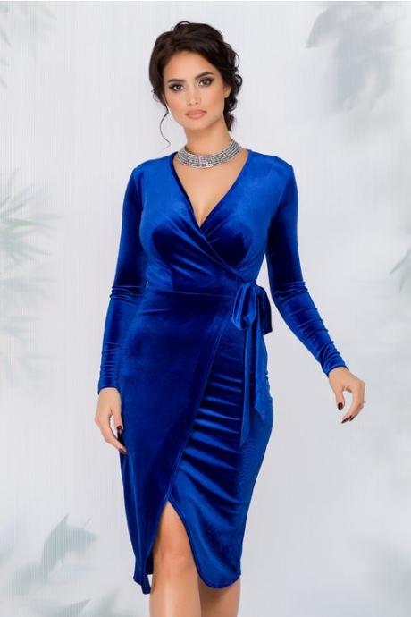 Rochie Alma albastru electric din catifea