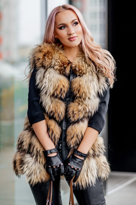 Vesta blana naturala dama din raton bej cu fermoar Dior