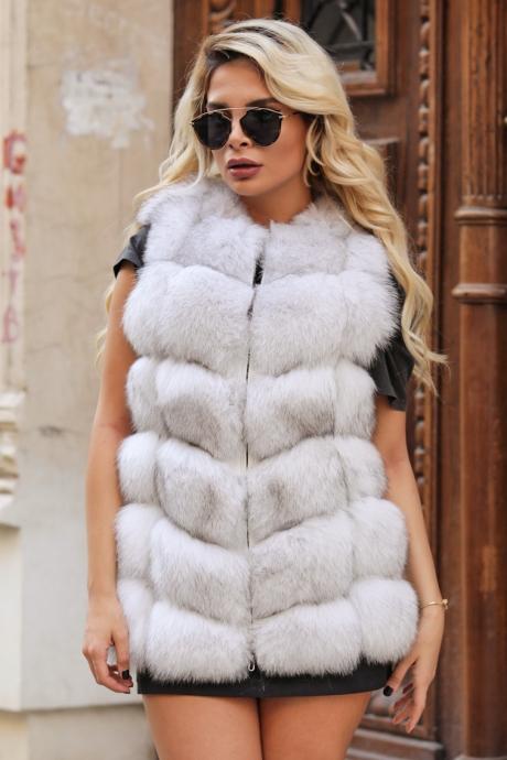 Vesta blana naturala dama vulpe polara alba cu fermoar Dior
