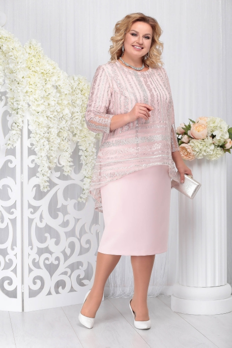 Compleu roz prafuit elegant din 2 piese cu rochie 2