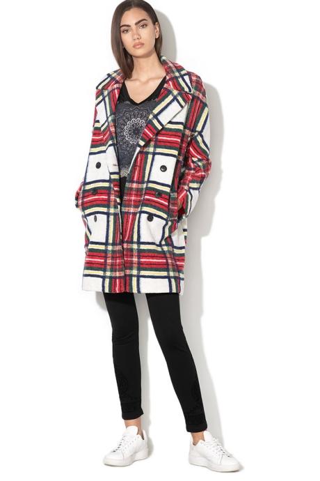 DESIGUAL Palton din amestec de lana, cu model in carouri Dorian