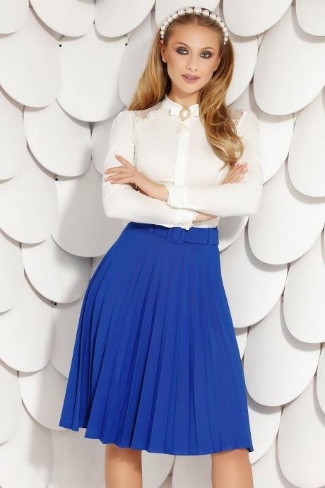 Fusta Fofy albastra office midi plisata din material elastic in clos cu accesoriu tip curea