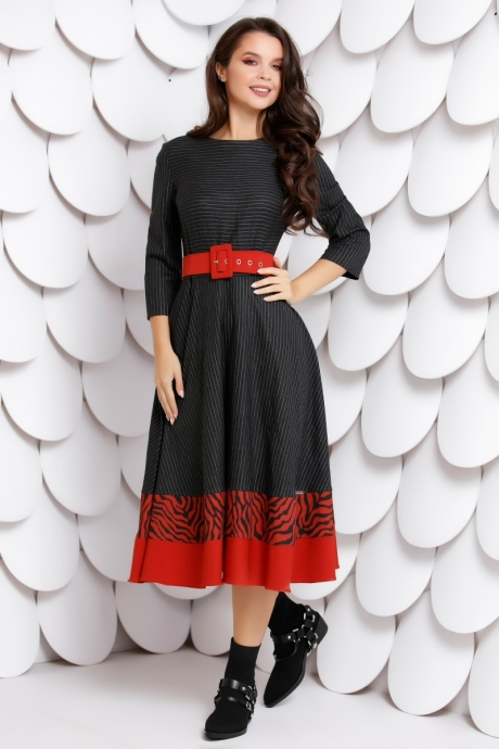 Rochie Oriana Black Red