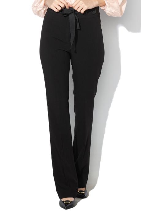 Sisley Pantaloni drepti cu cordon detasabil in talie