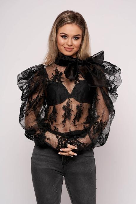 Bluza dama SunShine neagra scurta de ocazie din tul si aplicatii de dantela cu croi larg si maneci bufante
