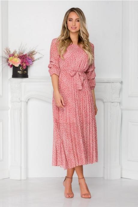 Rochie Dottie midi roz cu buline