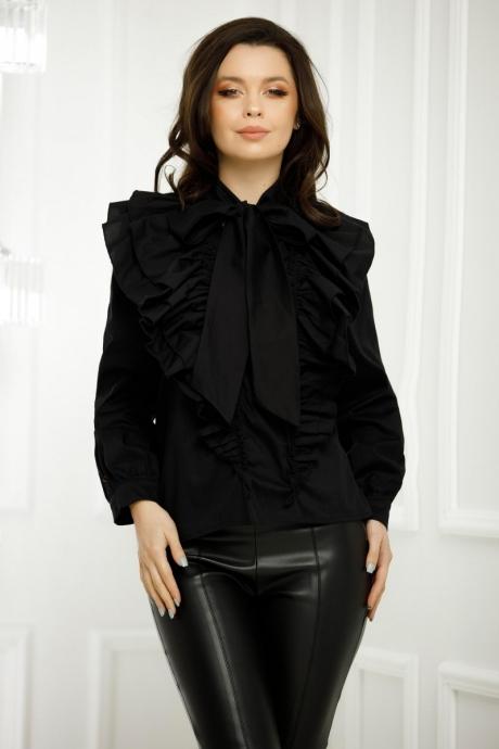 Bluza Adriana Neagra Cu Volane