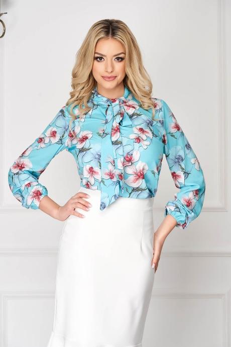 Bluza dama StarShinerS albastru-deschis eleganta scurta din voal plin cu imprimeu floral