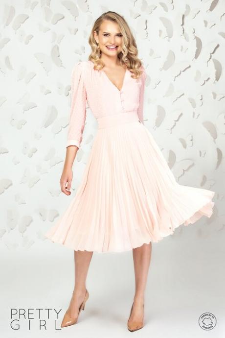 Fusta Pretty Girl midi plisata din voal roz pal