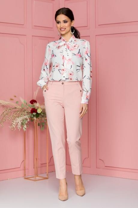 Pantaloni Deny roz cu buzunare decorative