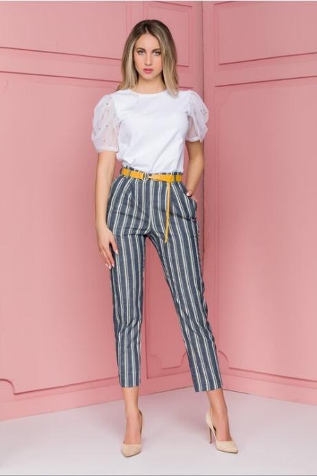 Pantaloni Elena cu dungi bleumarin