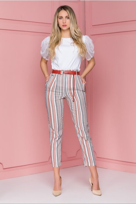 Pantaloni Elena cu dungi caramizii