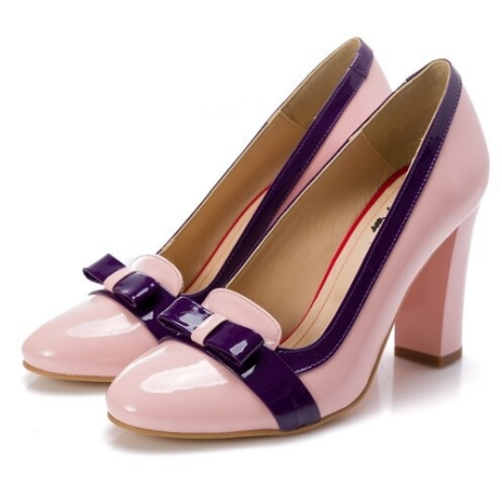 Pantofi Mary roz cu fundita mov