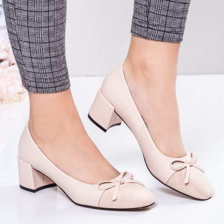 Pantofi cu toc dama bej Leonia-rl