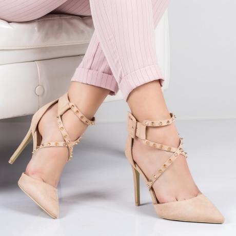 Pantofi dama cu toc si tinte bej Anobia-rl