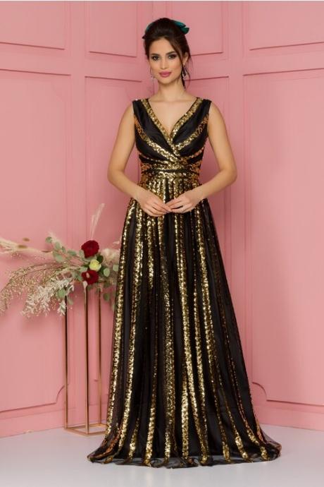 Rochie Aura neagra din tull accesorizata cu paiete aurii