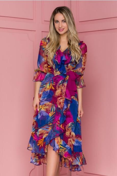 Rochie Ginette multicolora cu imprimeu exotic si design petrecut