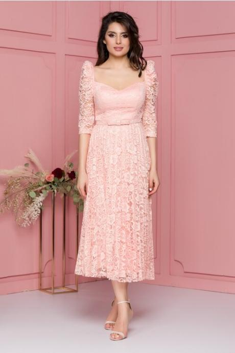 Rochie Julie midi din dantela roz somon