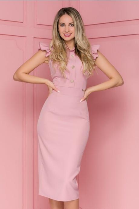 Rochie Sabrina roz cu volanase la umeri si nasturi la bust
