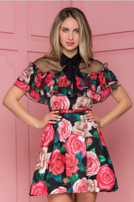 Rochie Stefania neagra cu volanase si trandafiri rosii