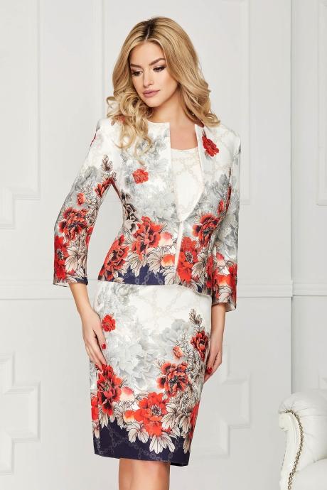 Compleu crem elegant din 2 piese cu rochie si sacou din stofa cu croi drept