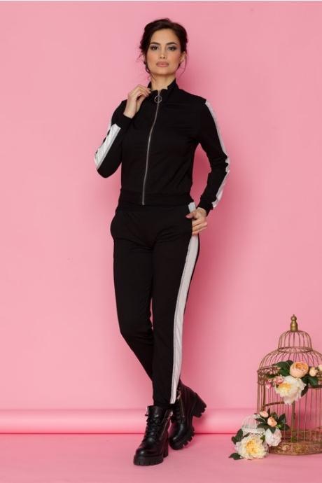 Costum sport Anais negru cu benzi albe si argintii