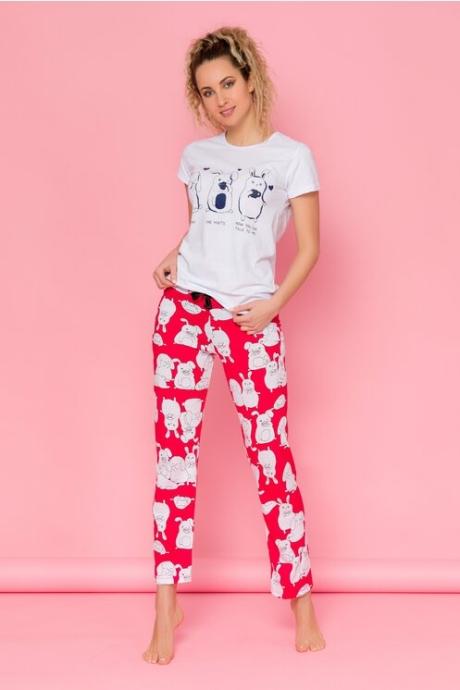Pijama Bunnies cu tricou alb si pantaloni rosii