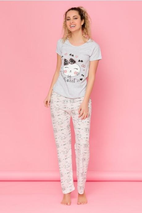 Pijama Cat gri cu dungi si imprimeuri pe pantaloni