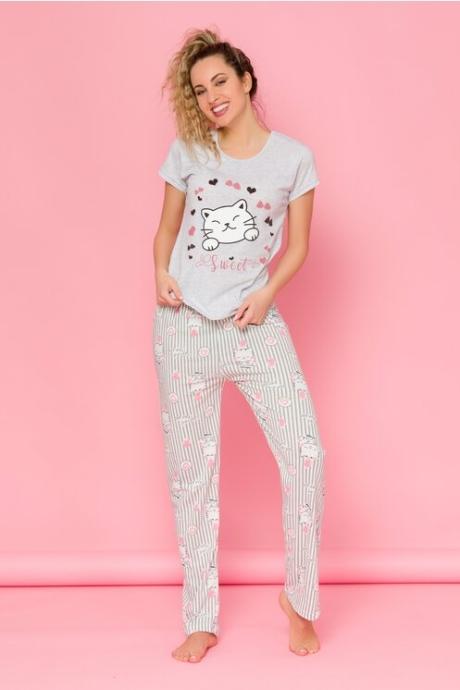 Pijama Kitty cu tricou gri si pantaloni roz