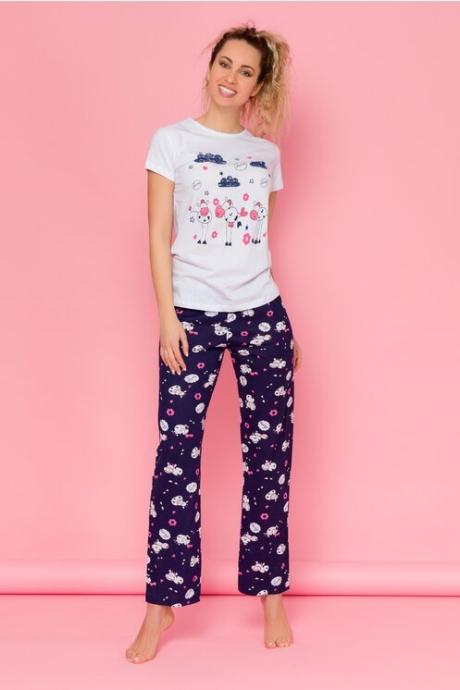 Pijama Love cu tricou alb si pantaloni bleumarin