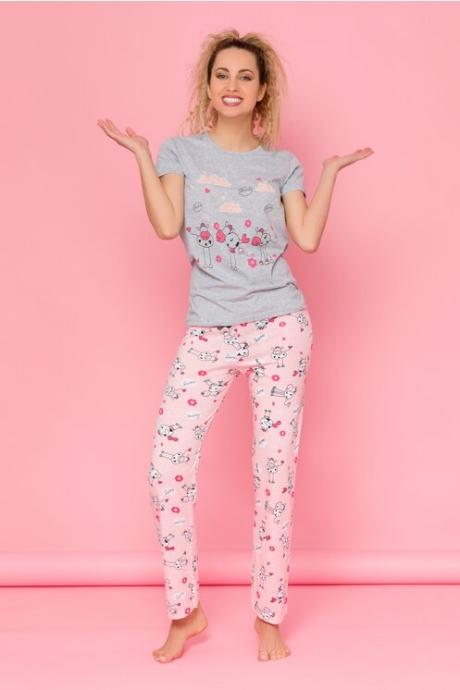 Pijama Love cu tricou gri si pantaloni roz