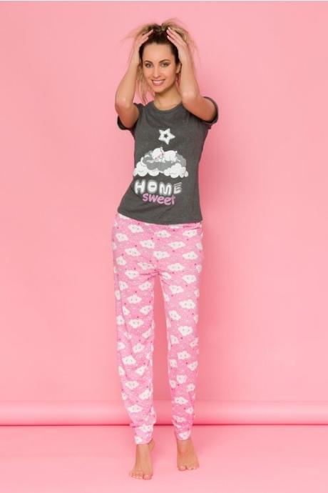Pijama Sleepy cu tricou antracit si pantaloni roz