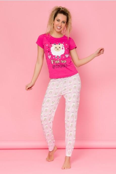 Pijama So Sweet roz cu carouri pe pantaloni