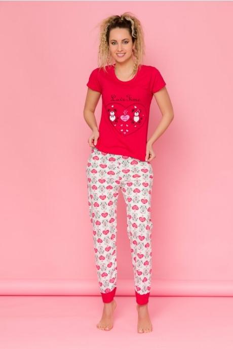 Pijama Teddy cu tricou rosu si pantaloni albi cu imprimeuri