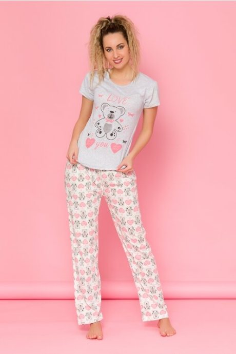 Pijamale Teddy Love cu tricou gri si pantaloni albi cu imprimeuri
