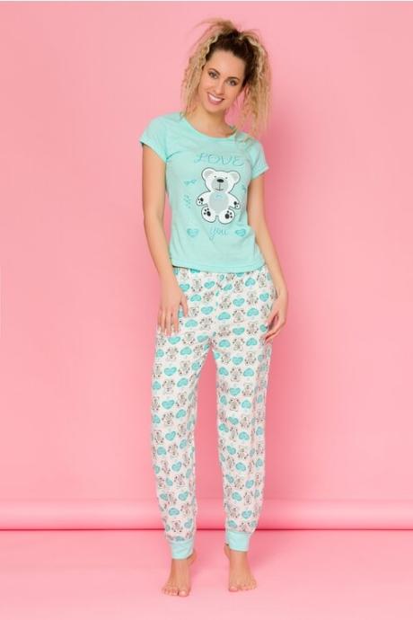 Pijamale Teddy Love cu tricou verde mint si pantaloni albi cu imprimeuri