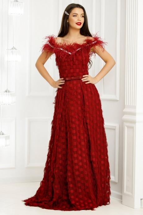 Rochie Lunga Rose Bordo Decorata Cu Franjuri Si Pene