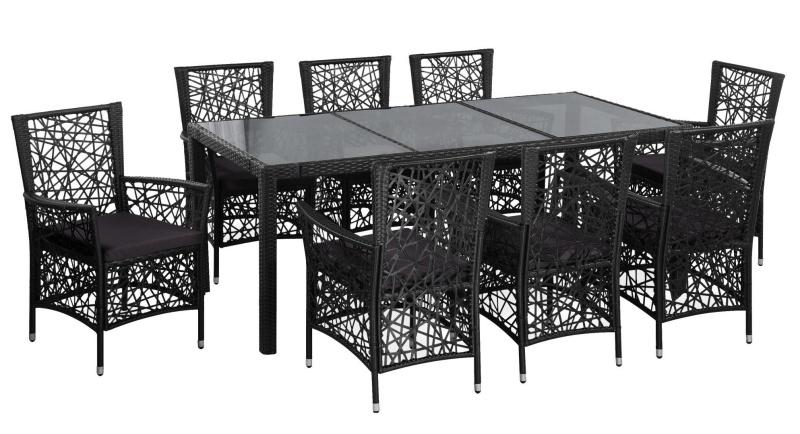 Set mobilier de exterior cu masa si scaune, vidaXL, Poliratan, metal