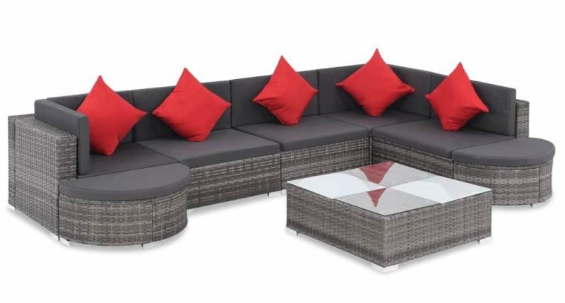 Set mobilier de gradina, 27 piese, canapea si masa