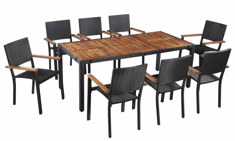 Set mobilier de gradina, 9 piese, 1 masa si 8 scaune