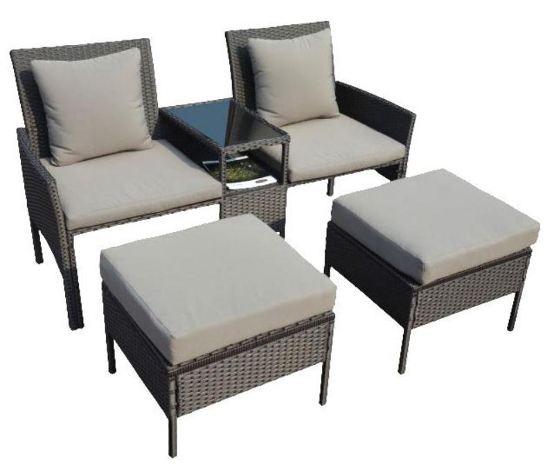 Set mobilier gradina:terasa Kring Tenerife, Canapea 2 locuri + 2 tabureti